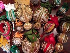 Lot Of Exquisite Vintage Heavily Beaded Sequin Velvet Christmas Tree Ornaments