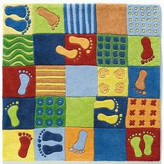"Feet Kids Rug Size: Square 3'11"" by Haba. $208.99. 2883 Size: Square 3'11"" Features: -Material: 100pct Japanese acrylic.-Origin: China.-With textile cloth backing.-Bright and cheery foot rug will have you doing the foot rug jump following the prints.-Very heavy, comfortable sitting surface.-Easily vacuumed. Color/Finish: -Mixture of patterns and colors and tempt children to hop and skip. Assembly Instructions: -No assembly required. Dimensions: -Pile height: 1.5''."