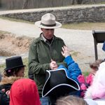 C&O Canal:  A park ranger talking with a school group along the towpath.