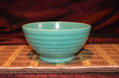 Vintage California Art Pottery BlueGreen Ring Ware Beehive Mixing Bowl #12 Bauer #Bauer