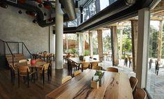 Frankie Says is Richmond's New Riverside Restaurant and Bar Riverside Restaurant, Playground, Melbourne, Concrete, Windows, Bar, Table, Furniture, Home Decor