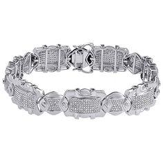 Mens 10K White Gold Real Diamond Fancy Designer Link Pave Bracelet 8 Inches | 2.77 CT