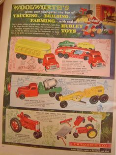 Image detail for -Vintage Woolworth's Original 1953 Hubley Toys Advertisement - Better ...