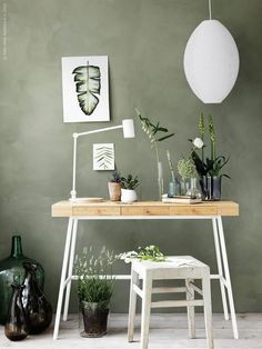 Vintage Finish - 12 Reasons Why Sage Green Is The Coolest New Wall Color - Photos Ikea Workspace, Workspace Design, Home Office Design, Home Office Decor, Home Interior Design, Office Ideas, Ikea Wall Desk, Office Designs, Bedroom Office