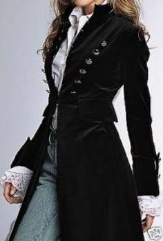 Style: Velvet Coat Love the coat but the shirt cuffs put it over the top. the coat but the shirt cuffs put it over the top. Look Fashion, Autumn Fashion, Fashion Design, Fashion Black, Trendy Fashion, Gothic Fashion, Pirate Fashion, Modern Victorian Fashion, Vintage Modern
