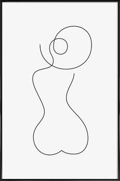 Summer Plakat i standardramme Abstract Line Art, Abstract Canvas, Canvas Art, Minimalist Drawing, Minimalist Art, Minimal Drawings, Easy Drawings, Rosen Tattoos, Art Folder