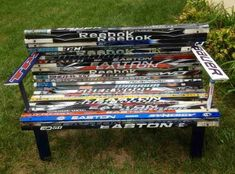 A hockey stick bench made by our very own Stinger for the Blue Jackets Foundation! Hockey Decor, Hockey Room, Hockey Stick Crafts, Hockey Sticks, School Auction Projects, Plywood Storage, Nhl News, Diy Bench, Have Time