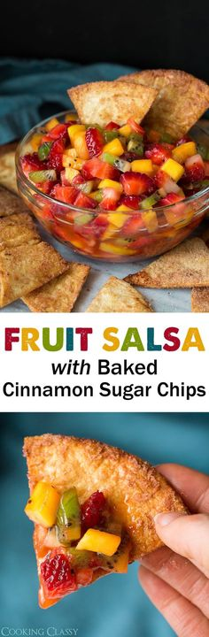 Fruit Salsa with Baked Cinnamon Sugar Chips - Cooking Classy - Fingerfood Fruit Recipes, Appetizer Recipes, Cooking Recipes, Recipies, Sweet Recipes, Party Appetizers, Cooking Videos, Dip Recipes, Cooking Tips