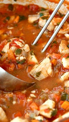 Filled with tilapia (or other white fish), shrimp and a spicy tomato broth.