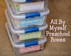 All By Myself #Preschool Quiet Time Boxes from @1plus1plus1