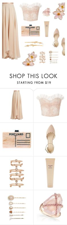 """""""Creamy Nudes"""" by alongcametwiggy ❤ liked on Polyvore featuring Lanvin, Rodarte, Edie Parker, Charlotte Russe, Kendra Scott, Shiseido, Cara and Henri Bendel"""