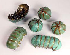 Brass Pillbug with Green and Orange Patina by MetalCakes on Etsy