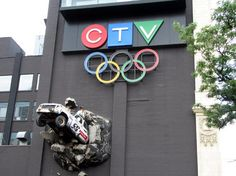 CTV, the second largest broadcaster in Canada, is located in Toronto and is easily spotted by the news van exploding from the wall.