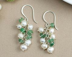 Earring Design pearls or crystal on a chain