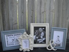 Nursery Decor - Picture Frames - Baby - Grey And Yellow - Shabby Chic - Glass N…