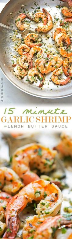 15 Minute Garlic Shrimp in Lemon Butter Sauce - a quick and easy weeknight dinner option that's under 200 calories! #garlicshrimp #lemonbutter #shrimpscampi |Littlespicejar.com