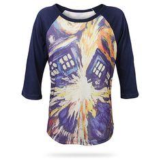 Exploding TARDIS Raglan Ladies' Tee