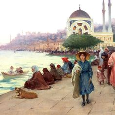 Fausto Zonaro (İtalian ) - Walking Along the Sea,
