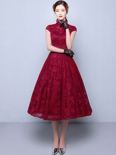 Tea-Length A-Line Qipao / Cheongsam Wedding Dress in Lace