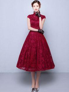 Tea-Length A-Line Qipao / Cheongsam Wedding Dress in Lace
