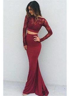 Sexy Prom Dress,Long Sleeve Two Piece Prom Dress,Elegant