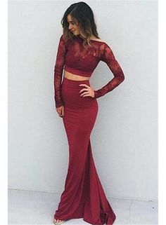 Sexy Prom Dress,Long Sleeve Two Piece Prom Dress,Elegant