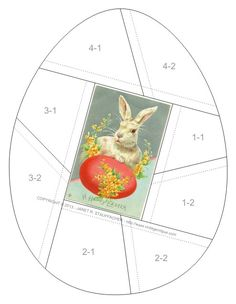 A Happy Easter crazy quilt block pattern posted on Janet Stauffacher's Nostalgic NeedleART blog on 3/15/13.