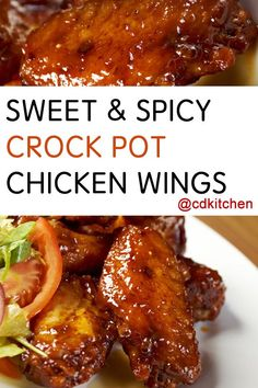 This slow cooked chicken wing recipe is always a hit with its slightly sweet, slightly spicy flavors. | CDKitchen.com