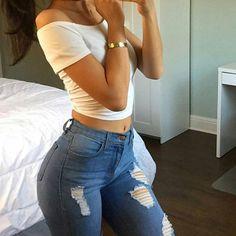 //pinterest @esib123 // #style #inspo #fashion  jeans and white top
