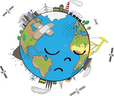 Illustration of cartoon - can find Planet earth and more on our website. Illustration of cartoon. Earth Day Drawing, Planet Drawing, Earth Drawings, Art Drawings For Kids, Earth For Kids, Save Our Earth, Image Triste, Earth Poster, Environmental Pollution