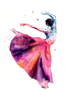 Ballerina Original Watercolor Painting  by WatercolorMary on Etsy