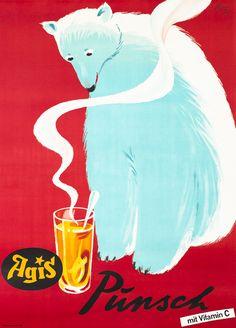 Agis Punsch mit Vitamin C by Fritz Buhler   Shop original vintage posters online: www.internationalposter.com