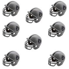 Oakland Raiders NFL Helmet Party Kit www.teeliesfairygarden.com Let your fairies enjoy a football game with this helmet party kit! This set includes 16 helmets of the Oakland Raiders enough for all of your fairies and gnomes. #fairyhelmets