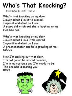 Halloween Poem - Whos That Knocking halloween fingerplays Short Poems For Kids, Poetry For Kids, Short Stories For Kids, Kids Poems, Best Poems For Kids, Halloween Stories For Kids, Halloween Music, Halloween Activities, Halloween Kids