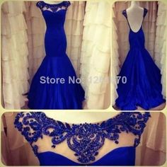 Actual Images 2014 Backless Evening Dresses Royal Blue Mermaid Beading See Through Formal Dress Prom Pageant Dresses Custom made $148.00