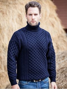Our Mens Wool Turtleneck Sweater, add a classic look to a man wardrobe. This Fisherman Sweater has an Aran Honeycomb design and available in 4 color including traditional Aran White Wool. Gents Sweater, Handgestrickte Pullover, Mens Turtleneck, Winter Typ, Hand Knitted Sweaters, Mens Wool Sweaters, Sweater Design, Cold Weather Fashion, Look Cool