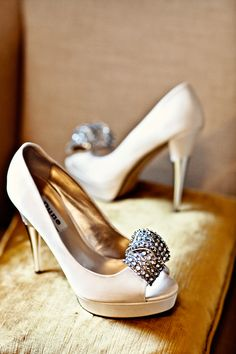 The brides art deco shoes await their big moment. Photo by Steve Gerrard Photography. - Art Deco Shoes || Hannah + Ali