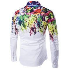 Flowers Splash-ink Splashed Paint Printing Lapel Long-sleeved Men Shirt - Banggood Mobile