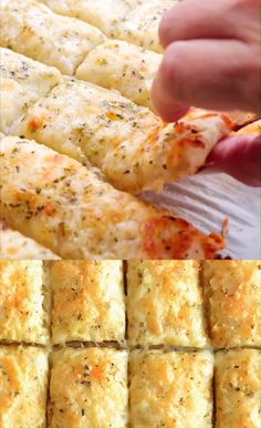 recipes Homemade Cheesy Garlic Breadsticks Recipe Using Pillsbury refrigerated pizza crust you can make an easy, awesome and super delicious side dish! Fun Easy Recipes, Easy Meals, Super Bowl Recipes, Party Food Recipes, Food Recipes For Dinner, Fun Pizza Recipes, Cake Recipes, Easy To Make Snacks, Easy To Make Dinners