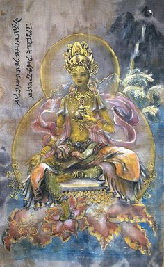 """Sold - #YellowTara with many thanks to this buyer. www silkalchemy com #Tara here is also known as #Vasudhara #Buddhist """"version"""" of the #Hindu #goddess #Lakshmi, the bringer of #wealth in all forms - earthly and #spiritual. #silkalchemy #tillyssilkalchemy #alchemy #buddhism #hinduism #dakini #divinefeminine #tillycampbellallen #ticampbellallen #meditation #yoga #art #freelanceartist #fengshui #mantra"""