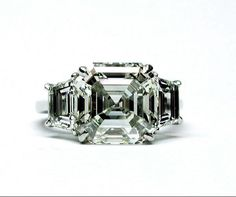 6.13 Asscher Diamond Ring with Traps. Set in Platinum.