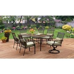 Amazon.com: Better Homes and Gardens Rockwood Trellis-back 7-Piece Dining Set, Faux Stone Table: Kitchen & Dining