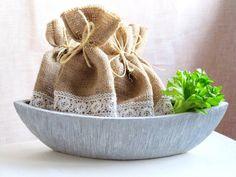 Burlap Linen Favor Bag Set of 10 Burlap by NaturalHomeTreasures, $18.00