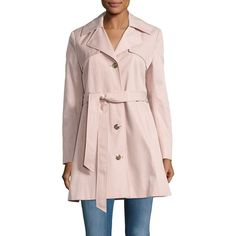 Karl Lagerfeld Paris Belted Trenchcoat ($100) ❤ liked on Polyvore featuring outerwear, coats, blush, belted trench coat, pink coat, pink trench coat, karl lagerfeld coat and trench coat