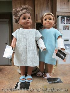 Carole's Corner of Crafts: American Girl Doll Hospital Gown, Cast, Slippers, X-ray Tutorials AG012