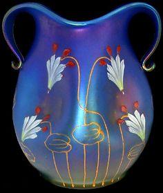 Loetz enameled iridescent blue glass vase