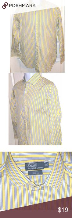 Polo Ralph Lauren Long Sleeve Dress Shirt Mens 16 Thia is a mens size 16 32/33 long sleeve striped dress shirt by Polo Ralph Lauren. The chest measures 25 inches and the length is 32 inches. Polo by Ralph Lauren Shirts Dress Shirts