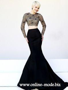 Zweiteiliges Meerjungfrau Abendkleid in Schwarz