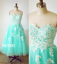 Retro Mint green Sweetheart Tea Length Tulle prom dresses with Appliques  #promdress #formaldress #eveningdress #prom #dress    http://niceoo.com/products/16557639-retro-mint-green-sweetheart-tea-length-tulle-prom-dresses-with-appliques