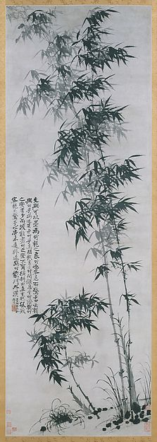 Bamboo in Wind and Rain - Bamboo in Wind and Rain Artist: Shitao (Zhu Ruoji) (Chinese, 1642–1707) Period: Qing dynasty (1644–1911) Date: ca. 1694 Culture: China Medium: Hanging scroll; ink on paper Dimensions: Image: 87 3/4 x 30 in. (222.9 x 76.2 cm) Overall with mounting: 132 1/4 x 37 3/8 in. (335.9 x 94.9 cm) Overall with knobs: 132 1/4 x 41 in. (335.9 x 104.1 cm) Classification: Paintings Credit Line: Edward Elliott Family Collection, Gift of Douglas Dillon, 1984 Accession Number…